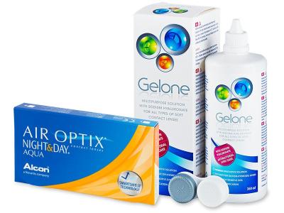 Air Optix Night and Day Aqua (6 leč) +tekočina Gelone 360 ml - Package deal