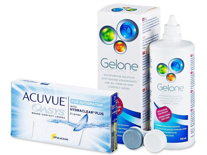 Acuvue Oasys for Astigmatism (6 leč) + tekočina Gelone 360 ml - Package deal