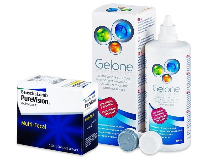 PureVision Multi-Focal (6 leč) + tekočina Gelone 360ml - Package deal