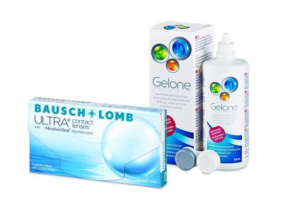Bausch + Lomb ULTRA (3 leče) + tekočina Gelone 360 ml