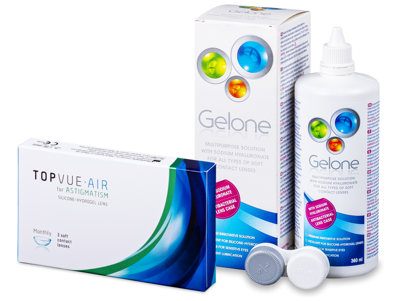 TopVue Air for Astigmatism (3leče) + tekočina Gelone 360ml - Package deal