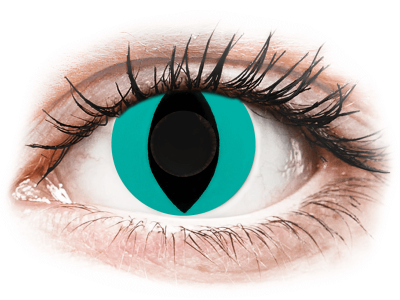 CRAZY LENS - Cat Eye Aqua - dnevne leče brez dioptrije (2 leči)