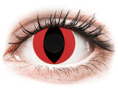 CRAZY LENS - Cat Eye Red - dnevne leče brez dioptrije (2 leči)
