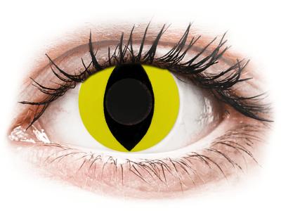 CRAZY LENS - Cat Eye Yellow - dnevne leče brez dioptrije (2 leči)