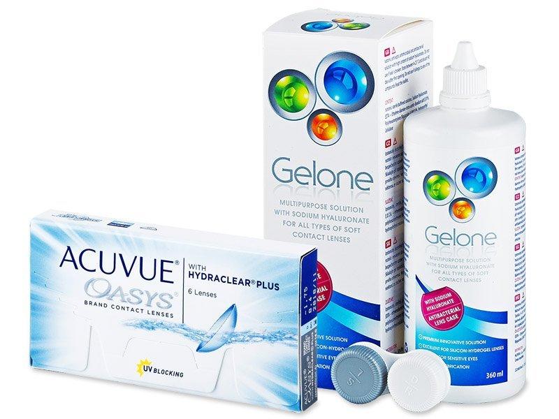 Acuvue Oasys (6leč) + tekočina Gelone 360ml - Package deal