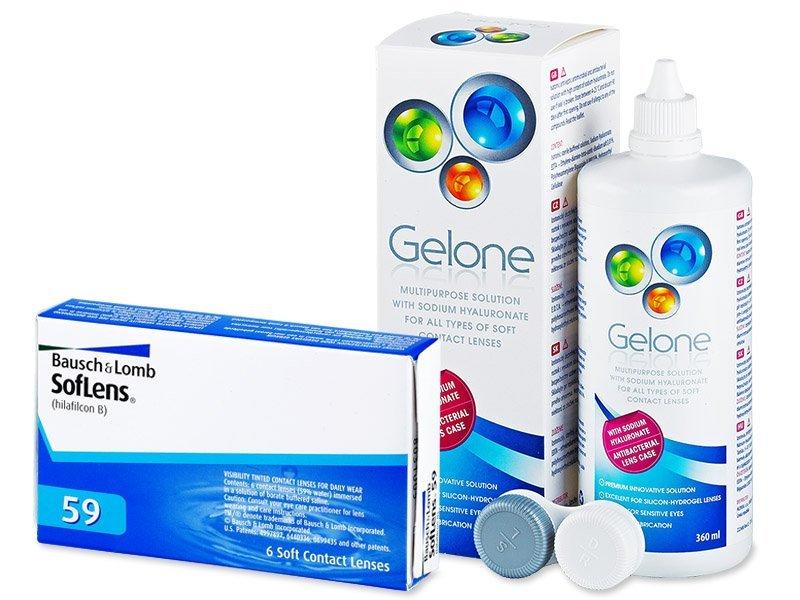 SofLens 59 (6leč) + tekočina Gelone 360ml - Package deal