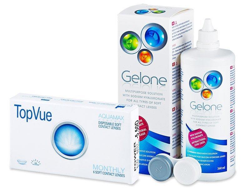 TopVue Monthly (6leč) + tekočina Gelone 360ml - Package deal